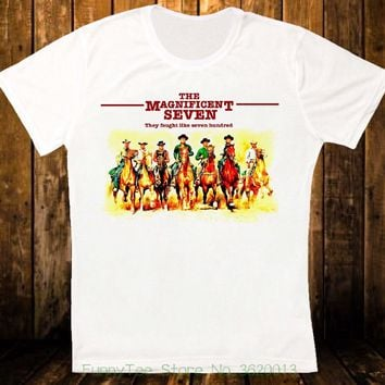 The Magnificent Seven 60s Western Yul Brynner Retro Hipster Unisex T Shirt 1303