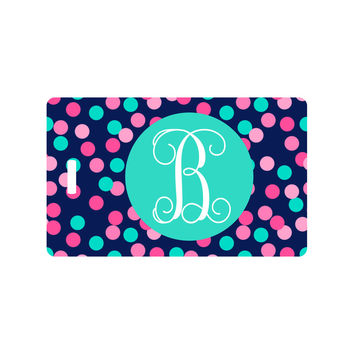 Confetti Luggage Tags with Monogram and Address