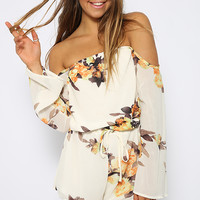 Floral Thunder Playsuit - White