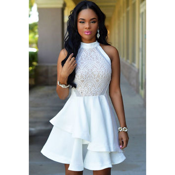 2016 White Lace Dress Nude Irregular Layered Skater Mini Dress White Woman Summer Sleeveless Vestido Robe Elbise Excellent Dress