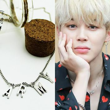 KPOP BTS Bangtan Boys Army Fashion   Jimin THE Same Necklace   Boys Pendant Silver Metal Necklace Clavicle Chain Accessories Jewelry AT_89_10