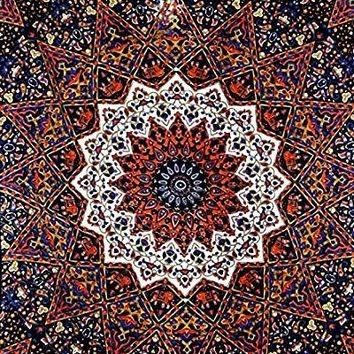 Oliphia Mandala Bohemian Boho Orange Mix Wall Beach Bed Tapestry