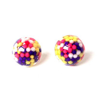 Small sprinkles stud earrings, candy post earrings, tiny sprinkles earrings, candy earrings