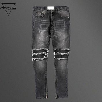 qiyif Black Destroyed Jeans Casual Pants
