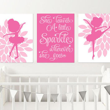BALLERINA Wall Art, BALLERINA CANVAS or Prints, Ballerina Nursery Decor, She Leaves A Little Sparkle, Baby Girl Nursery Decor, Set of 3 Art