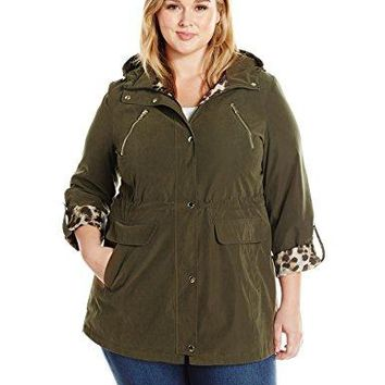 Lark & Ro Women's Plus Size Utility Jacket, Olive Green, 1X