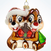 Disney Parks Glitter Glass Chip & Dale Christmas Ornament New with Tags