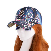 Beauty caps new design popular women rhinestone star denim baseball cap fashion brand woman jean crystal hip hop snapback hats