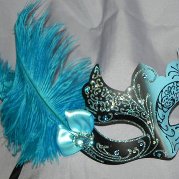 Masquerade Mask in Black and Silver with Turquoise and Aqua