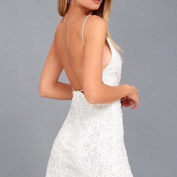 Force of Fashion White Backless Sequin Mini Dress