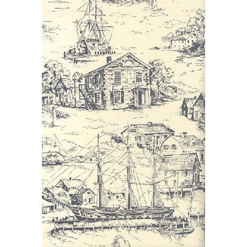 Nautical Toile Wallpaper AT4135 - Sold by the Yard