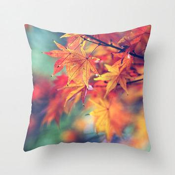 "decorative pillow, ""fall leaves"" autumn, orange, yellow, aqua,18x18 or 22x22 pillow, photo pillow,nature,colorful,cushion,throw pillow"