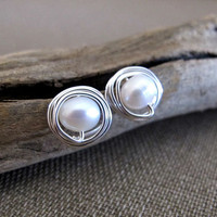 Freshwater Pearl Stud Earrings - Sterling Silver Wire Swapped Pearl Post Earrings - Delicate Earrings / Minimalist Jewelry / Pearls Studs