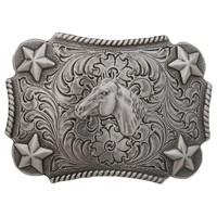 Nocona Youth Belt Buckle - Horse Head Silvertone Rectangular Buckle - 3603007