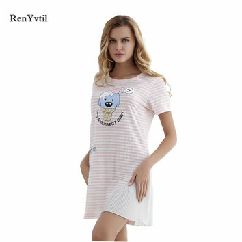 RenYvtil Summer Soft Home Dress Cartoon Printed Women Nightgowns Sleep Vintage Cute Short-Sleeved Women's Sexy Home Clothes