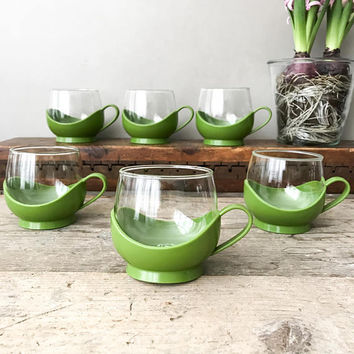 Vintage Melitta Coffee / Tea Cups, Olive Green Plastic Holders, Schott Mainz Glasses, 70's Roly-Poly Style