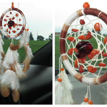 Car Accessory, Hippie Dreamcatcher, Small Boho Car Dreamcatcher with Quartz stone, Car Decor.