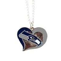 Swirl Heart Seahawks Necklace