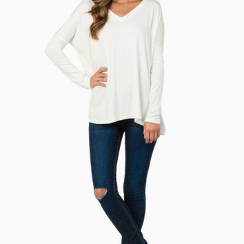 COZY LONG SLEEVE V NECK TEE IN OFF WHITE BY PIKO