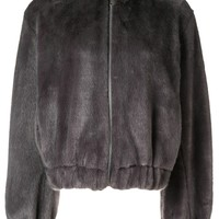 Grey Hooded Vegan Mink Bomber by Helmut Lang
