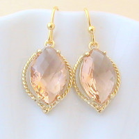 Gold Peach Earrings, Champagne Earrings, Peach Gold Earrings, Pink Earrings, Bridesmaid Gift, Wedding Jewelry, Dangle, Drop by Crystalshadow