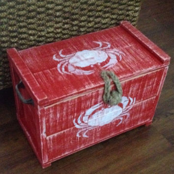 Crab Crate Trunk Chest Box Side Table One Small by CastawaysHall