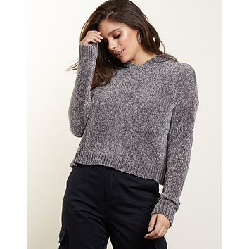 Super Soft Chenille Hooded Sweater