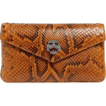 Gucci Womens Broadway Genuine Envelope Cognac Python Skin Leather Clutch