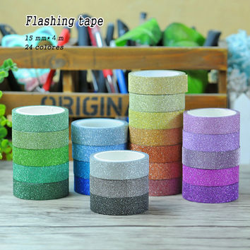 24 colors Hot sales 3M Glitter Washi Sticky Paper Masking Adhesive Tape Label Craft Decorative DIY