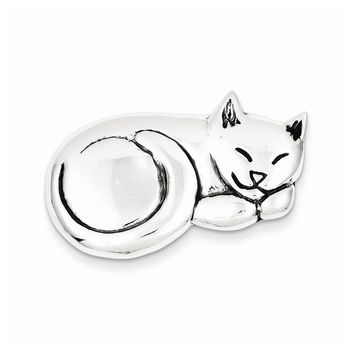 Sterling Silver Antiqued Sleeping Cat Pin