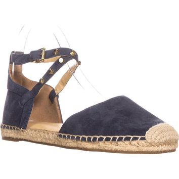 Marc Fisher Maci Espadrille Ankle Strap Round Toe Flats, Dark Blue, 8.5 US