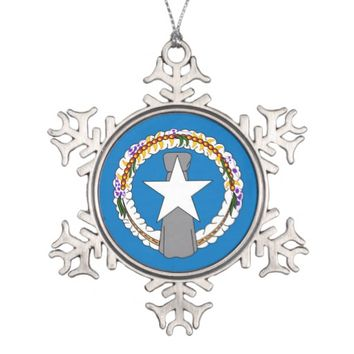 Snowflake Ornament with Northern Mariana Flag