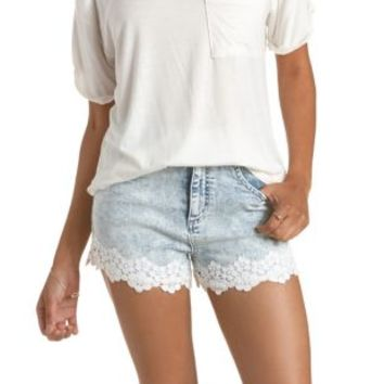 "Refuge ""Vintage Cheeky"" Crochet-Trim Denim Shorts"