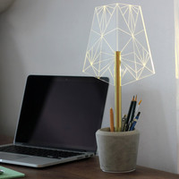 Concrete pen holder office lamp, Wired segmented desk lamp, modern desk organiser