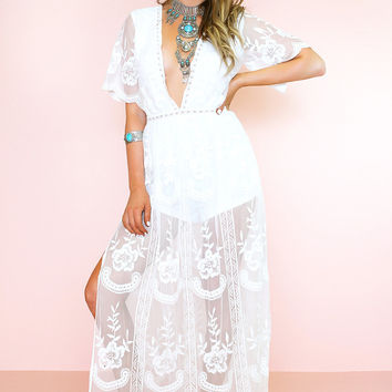BALENCIA EMBROIDERY LACE MAXI - WHITE