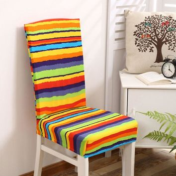 Smiry spandex elastic dustproof wedding party chair covers rainbow color striped geometric dustproof dining chair seat covers
