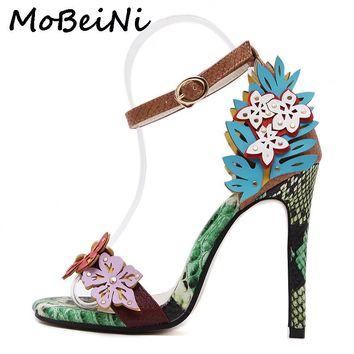 MoBeiNi Women Pumps High Heels Sandals Appliques snake texture Ankle Strap Shoes party Woman 2017 New Summer Gladiator Sandals