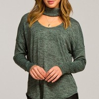 Weekend Adventure Key Hole Cowl Neck - Olive