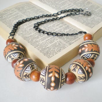 Tribal Fashion Bead Necklace Handmade OOAK by RetroRevivalBoutique