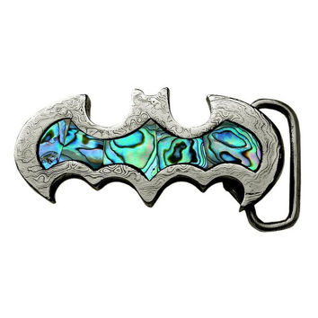 Genuine Damascus Steel Gotham Dark Knight Batman / Bat Girl Belt Buckle with Abalone Inlay - Unisex Fashion = 1927895044