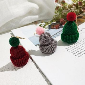 1 Pair Autumn Winter Lovely Sweater Christmas Hat Earrings Temperament Long Fluffy Ball Earrings Female