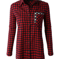 LE3NO Womens Oversized Long Sleeve Plaid Boyfriend Shirt with Pockets (CLEARANCE)