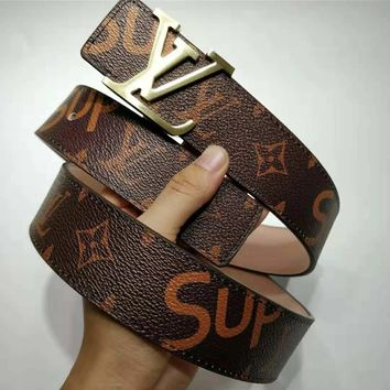 LV x Supreme co-branded men and women classic letter buckle smooth buckle belt gold