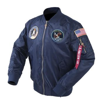 Trendy Autumn Apollo Thin 100th SPACE SHUTTLE MISSION Thin MA1 Bomber Hiphop US Air Force Pilot Flight Korean College Jacket For Men AT_94_13