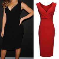 2015 New Women's Summer Dress V Neck Sleeveless Sexy Cocktail Party Slim Fit Casual Dresses Work Wear XE3315