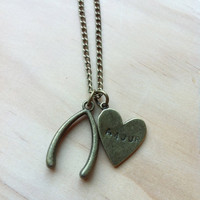 "Wishbone with Heart ""The Luckiest"" Necklace - Ben Folds"