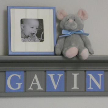 "Baby Boy Nursery Wall Shelving Personalized for GAVIN in Gray and Blue on Grey 24"" Shelf"