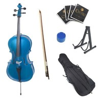 Cecilio CCO-Blue Student Cello with Soft Case, Stand, Bow, Rosin, Bridge and Extra Set of Strings, Size 4/4 (Full Size)