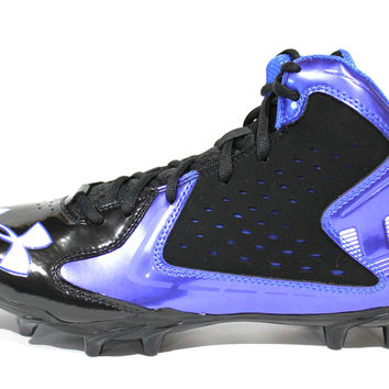 Under Armour Men's Fierce Phantom Mid MC Black/Blue Football Cleats