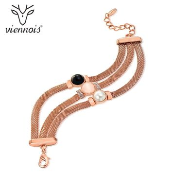 Viennois Women Chain Bracelets Rose Gold Color Female Simulated Pearl Opal Stone Bracelet & Bangles Fashion Jewelry